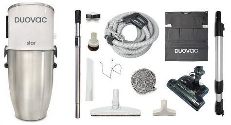 DuoVac Star Central Vacuum Kit with electric accessories