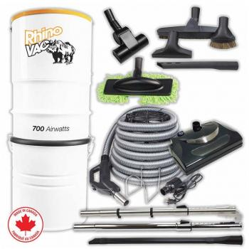 Rhino Vac Central Vacuum Deluxe Package with Electric Accessories